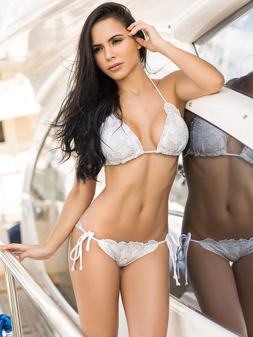 0ff60fd80864e Luxurious Chica Rica Glamour Triangle Bikini with Paillettes and central  seam ...