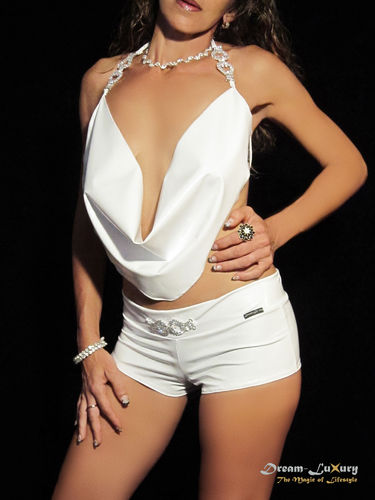 Dream-Luxury Hotpant-Top Combination made of elastic Stretch-Vinyl with application of rhinestones