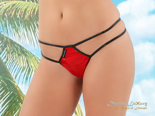 Dream-Luxury Micro String-Tanga aus Stretch-Lack / Hologramm-Nylon