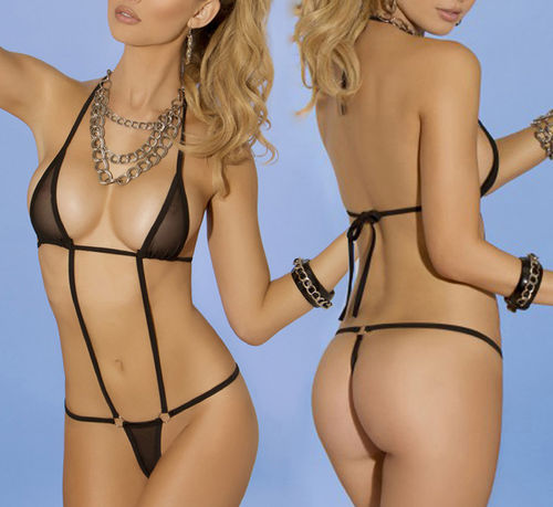 HOT Sexy Extreme Micro String-Monokini in black transparent