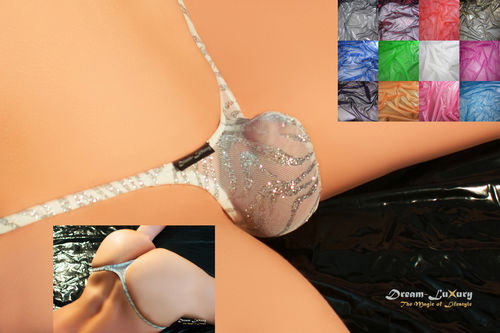 "Sexy Dream-Luxury Brazil ""PUSH"" String-Tanga made of Metallic-Mesh transparent in 13 colours"